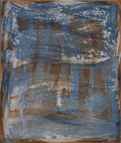 """Serpentine One"", gestural abstract aquatint monoprint, sanguine and deep blue."