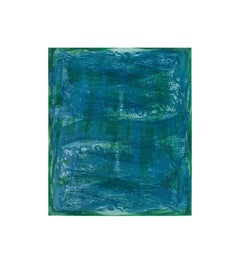Serpentine 11, gestural abstract aquatint monoprint, turquoise, blue, green.