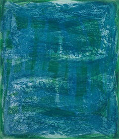 """Serpentine 11"", gestural abstract aquatint monotype, green, blue, turquoise."