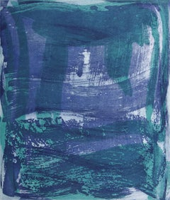 """""""Serpentine 12"""", gestural abstract aquatint monoprint, green, violet, turquoise."""