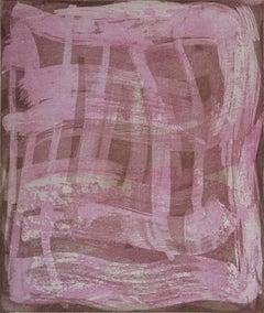 """Serpentine 2"", gestural abstract aquatint monoprint, rose pink, raw umber."
