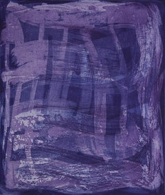 """Serpentine Five"", gestural abstract aquatint print, shades of blue and violet."