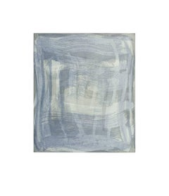 Serpentine Seven, gestural abstract aquatint print, shades of silver, pale gray.
