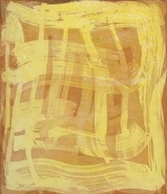 """Serpentine Three"", gestural abstract aquatint print, yellow, sanguine, orange."