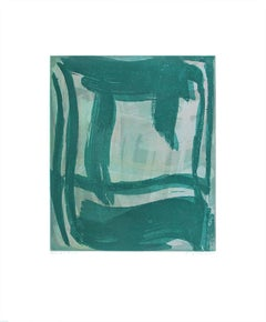 """""""Thick and Thin 3"""", gestural abstract monoprint, layered pink, green, blue."""