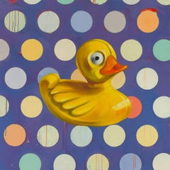 """Big Yellow Duck"", acrylic, oil, painting, duck, yellow, polka dotted"