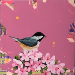 """Chickadee-dee-dee"", Anne Sargent Walker, acrylic, oil painting, bird, pink"