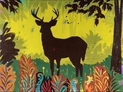"""Green Buck"", acrylic painting, forest, trees, ferns, red, russet, turquoise"
