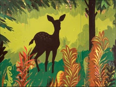 """Green Deer"", acrylic painting, trees, ferns, foliage, orange, yellow, brown"