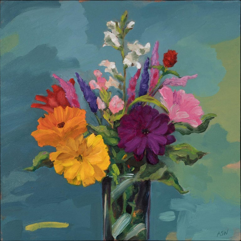 "Anne Sargent Walker's ""Last of the Summer Flowers"" is one of a series of all prima still lives of flowers. It is freshly painted in lush shades of pinks, lavender, whites and orange, against a soft background of blues with passages of green and"