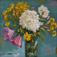 """Summer Flowers - Hydrangea"", oil painting, pink, yellow, white, green, blue"