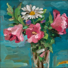 """""""Summer Flowers"""", oil painting, still life, blossoms, pink, white, greens, blue"""