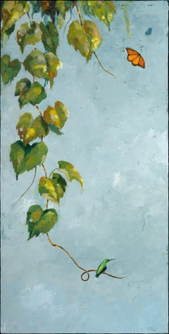 """Time to Go"", oil, painting, vine, blue, green, gold, butterfly, Japanese, bird"