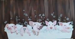 Pigs in the Tub!, Painting, Acrylic on Canvas