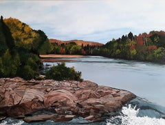 Waterfalls in Brébeuf, Quebec II, Painting, Acrylic on Canvas