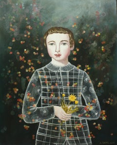"""""""Boy with Calen"""" by Anne Siems, Surreal figurative painting, boy with flowers"""