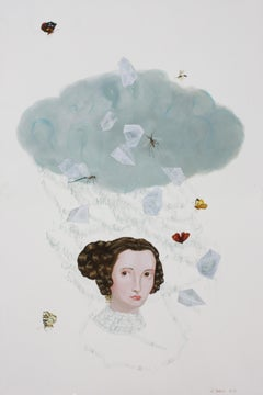 Cloud Crystal by Anne Siems, Painting with female portrait, on white clay panel