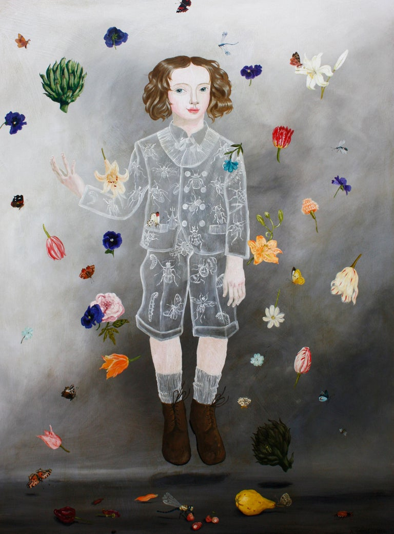 """Flowers and Insects"" by Anne Siems, is a captivating figurative-narrative painting featuring a young boy, with an 18th century feel. He is floating and surrounded by colorful flowers and insects.  ANNE SIEMS (b. 1965, Germany)  Artist Statement I"