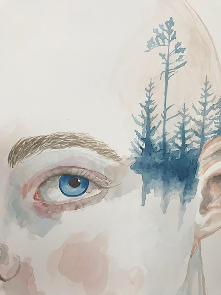 Forest Lover by Anne Siems, Portrait painting with tattoo drawing, on paper For Sale 1