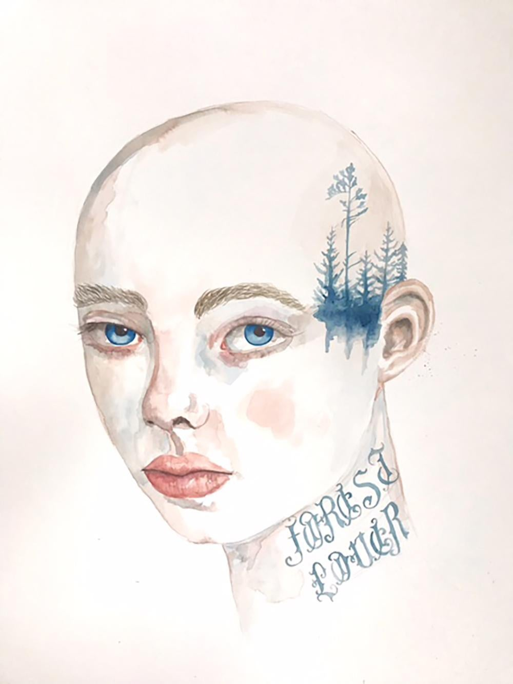 Forest Lover by Anne Siems, Portrait painting with tattoo drawing, on paper