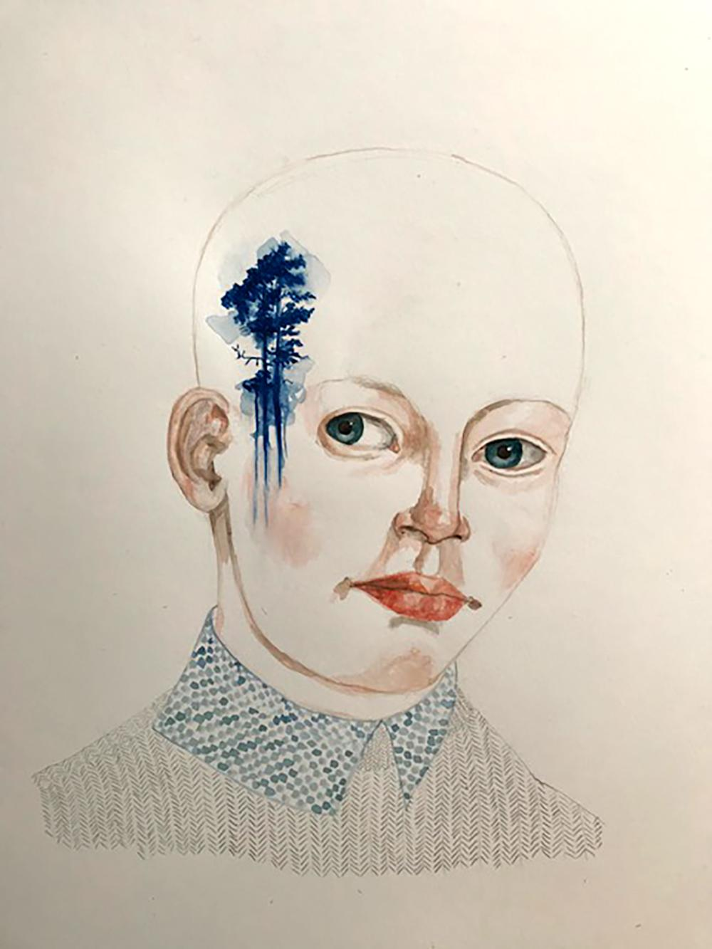 Forest Lover II by Anne Siems, Portrait painting with tattoo drawing, on paper