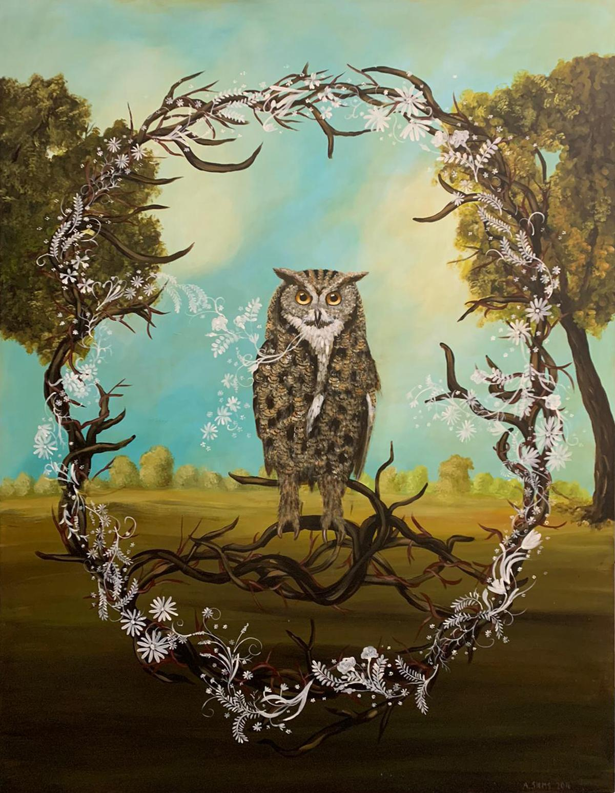 """""""Great Horned Owl"""" by Anne Siems, figurative painting, owl in forest landscape"""