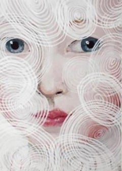 """""""O.W. Circles"""" by Anne Siems, Painting with female portrait, on paper, framed"""