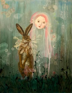 """Rabbit Magic"" by Anne Siems, Surreal figurative painting, girl with pink hair"