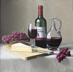 Bordeaux and Brie - contemporary realism painting fruit classic red wine