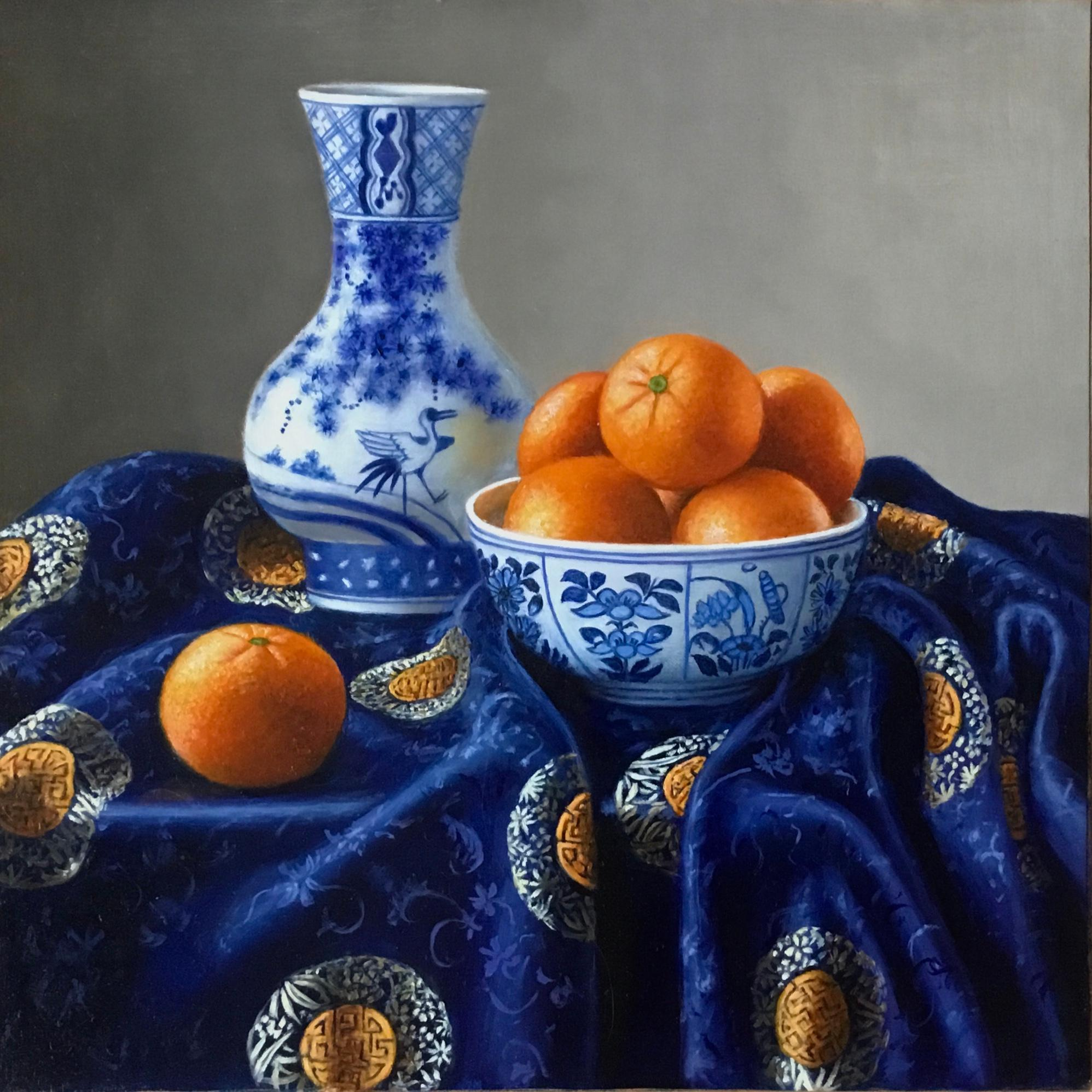 Chinese Porcelain with Clementines-realism still life painting-FREE Shipping