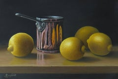 Contemporary Still Life Painting of Copper Pan with Lemons from British Artist