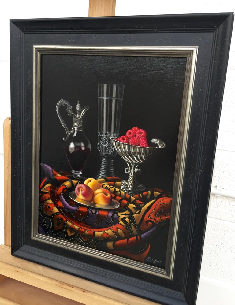 Contemporary Still Life Painting of Fruit & Silver inspired by the Dutch Masters - Black Still-Life Painting by Anne Songhurst
