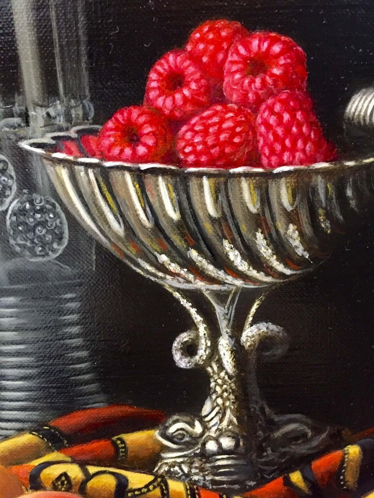 Contemporary Still Life Painting of Fruit & Silver inspired by the Dutch Masters For Sale 1