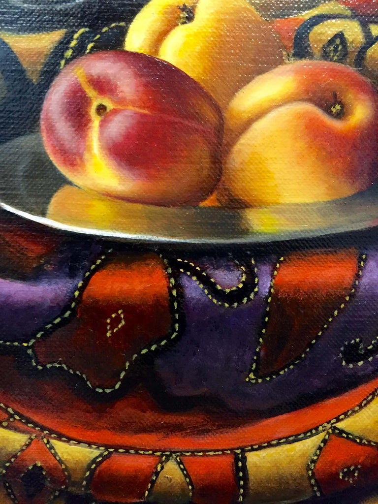 Contemporary Still Life Painting of Fruit & Silver inspired by the Dutch Masters For Sale 2