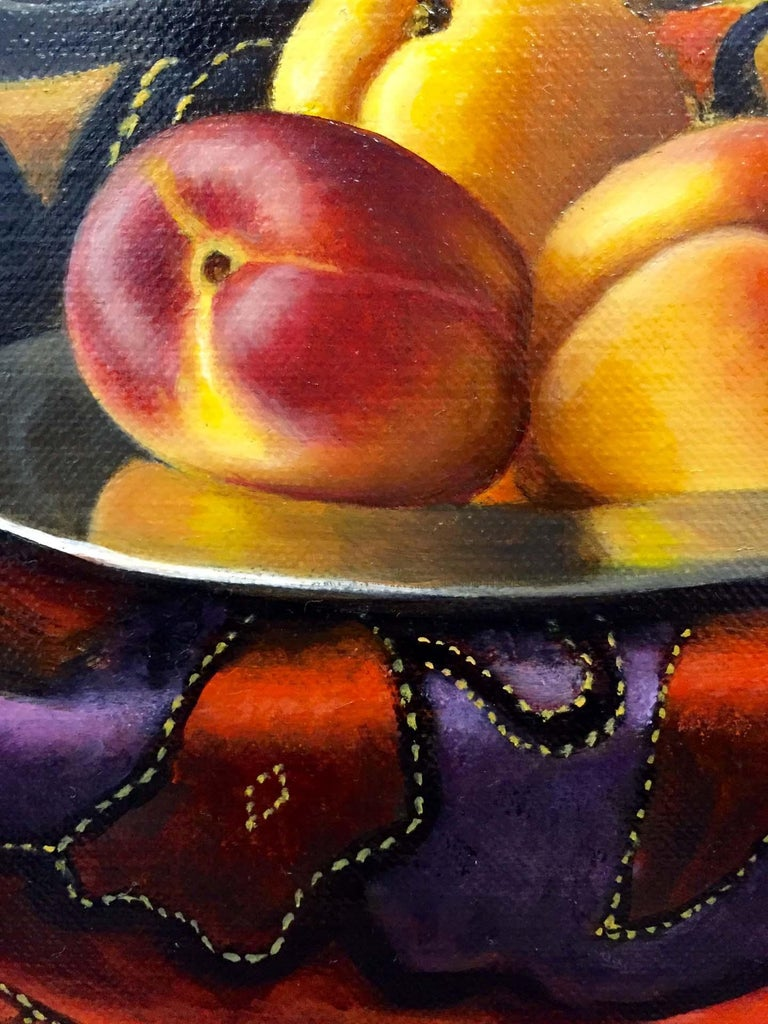 Contemporary Still Life Painting of Fruit & Silver inspired by the Dutch Masters For Sale 3