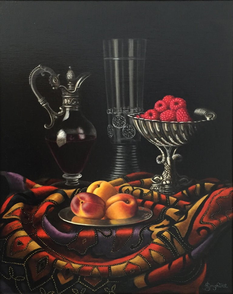 Anne Songhurst Still-Life Painting - Contemporary Still Life Painting of Fruit & Silver inspired by the Dutch Masters