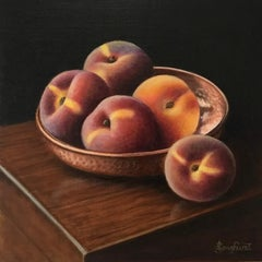 Copper Bowl with Peaches - contemporary realism still life painting-FREE Shippin
