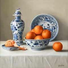 Mandarins in a Chinese Bowl-realism still life painting-FREE Shipping