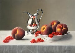 Peaches and Redcurrants - contemporary realism still life painting