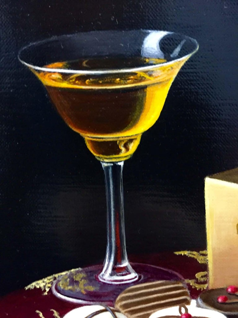 Realist Still Life Painting of Chocolates with Orange Liqueur by British Artist For Sale 5