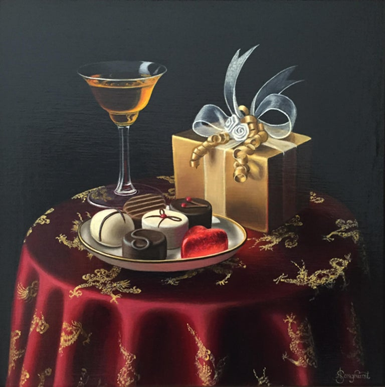 Anne Songhurst Interior Painting - Realist Still Life Painting of Chocolates with Orange Liqueur by British Artist