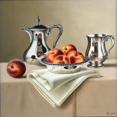 Silver Bowl With Peaches -contemporary realism still life painting-FREE Shipping