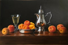 Silver Jug with Apricots -contemporary realism still life painting-Free Shipping