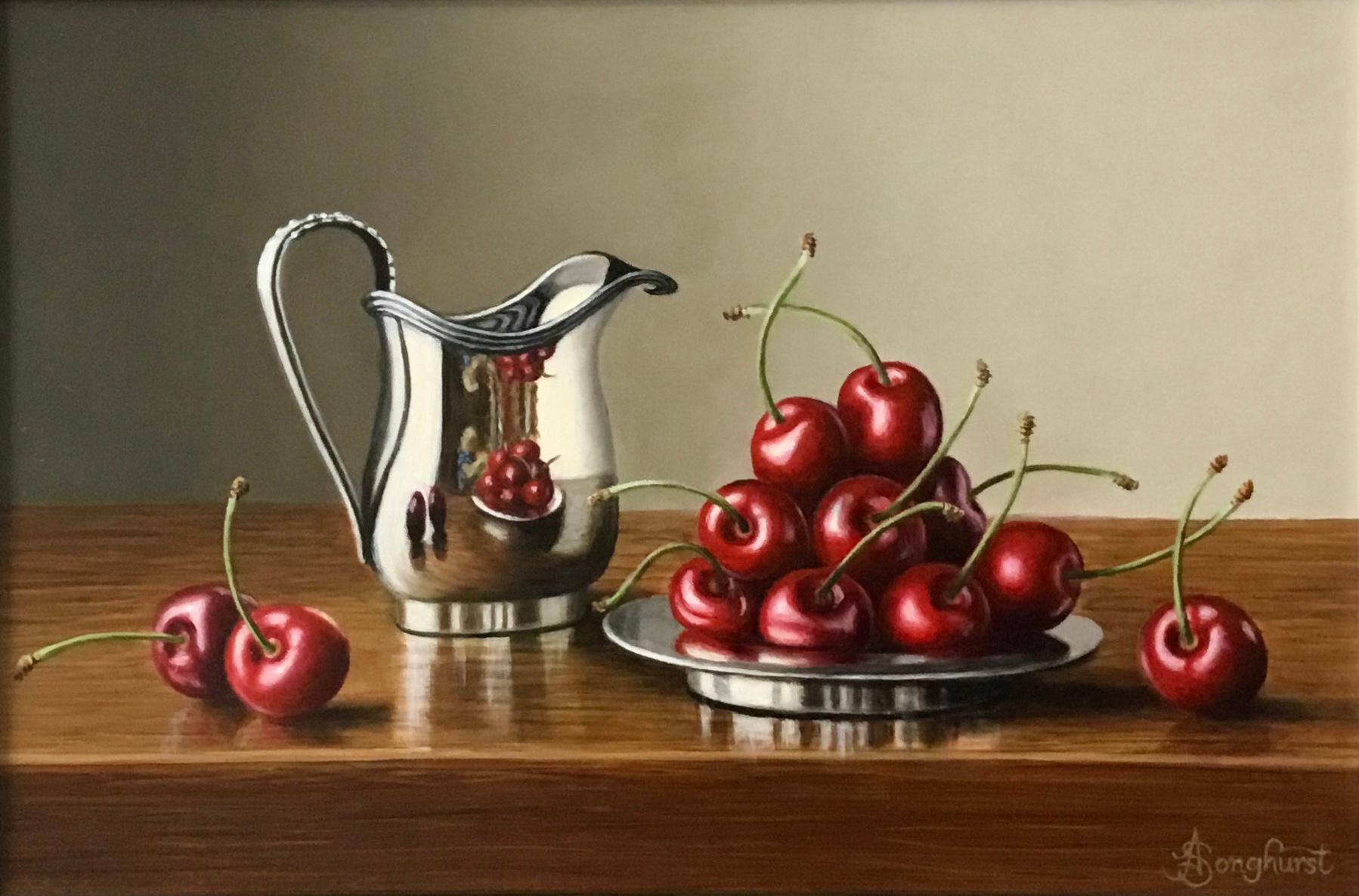 Silver Jug with Cherries -contemporary realism still life painting-FREE Shipping