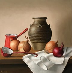 Stoneware Jar with Onions - contemporary realism still life painting classic