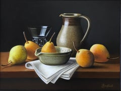 Stoneware Jug with Pears - contemporary realism still life painting