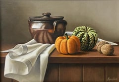 Stoneware Tureen with Squash- realism still life painting-Free Shipping