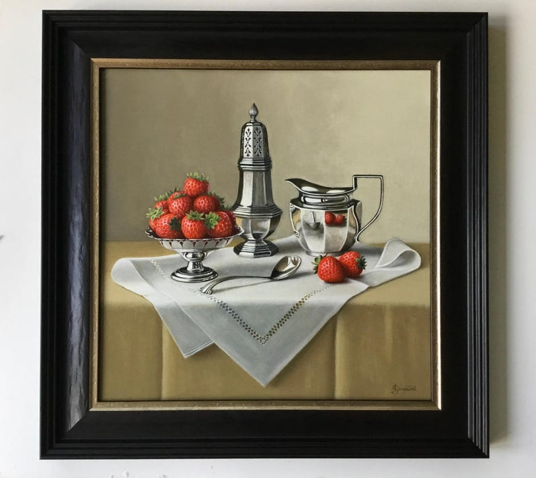 Strawberries and Silverware - contemporary realism still life painting - Painting by Anne Songhurst