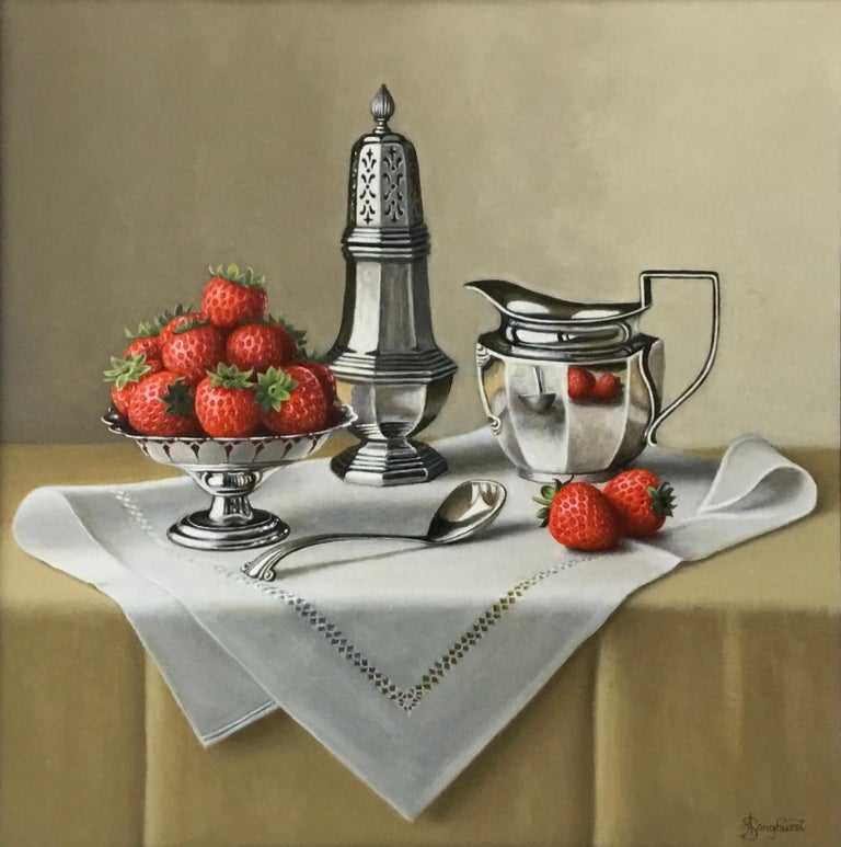 Anne Songhurst Still-Life Painting - Strawberries and Silverware - contemporary realism still life painting