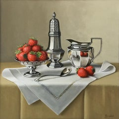 Strawberries and Silverware - Modern realism still life painting- FREE Shipping